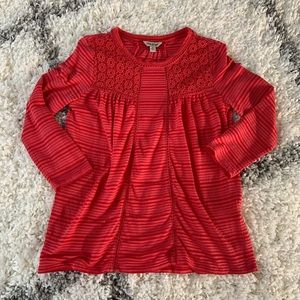 Coral Lucky Brand eyelet top
